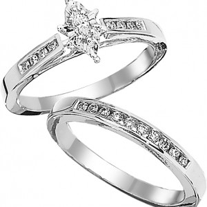 marquise diamond wedding set 14 cttw - Marquise Diamond Wedding Ring