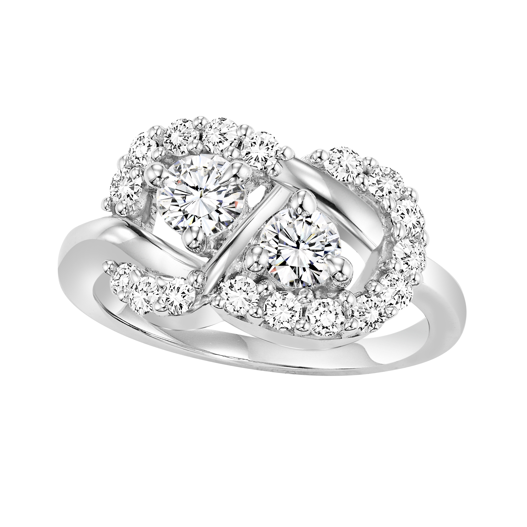 stone cttw together rings jewelers ring hearts round waldin engagement bridal gold diamond white